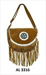 Ladies Brown Handbag with Beads, White Lacing, Fringe