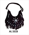Ladies Black Handbag with Fringe, Bones, Conchos