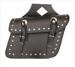 Studded Throw-Over Leather Motorcycle Saddlebags