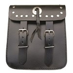 Studded Leather Motorcycle Sissy Bar Bag with Concho