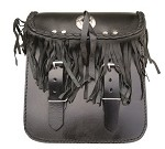 Fringe Leather Motorcycle Sissy Bar Bag with Concho