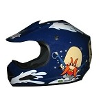 Youth Blue DOT ATV Dirt Bike MX Back Off Helmet