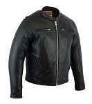 Mens Sporty Gun Pocket Vented Leather Cruiser Jacket