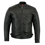 Mens Gun Pockets Vented Leather Cruiser Jacket