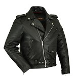 Big Mens Classic Leather Motorcycle Jacket