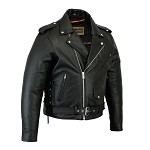 Big Mens Side Lace Leather Motorcycle Jacket