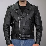 Big Men's Classic Motorcycle Leather Jacket