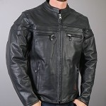Men's Vented Leather Jacket With Double Piping