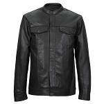 Men's Club Style Leather Shirt with Gun Pocket