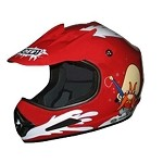 Youth Red DOT ATV Dirt Bike MX Back Off Helmet