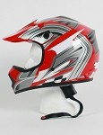 Youth Red Grey DOT ATV Dirt Bike MX Helmet
