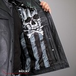 Men's Conceal Carry Leather Vest Skull Flag Liner