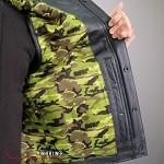 Men's Conceal Carry Leather Vest Camo Flag Liner