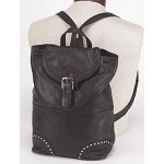 Womens Studded Backpack with Buckle Flap