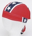 Motorcycle Skull Cap with Full Rebel Flag
