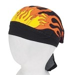 Motorcycle Skull Cap with Flames
