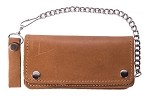 Tan Leather Bifold Chain Wallet