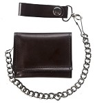 Brown Leather Tri-Fold Wallet with Chain