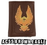 Brown Leather Tri-Fold Chain Wallet With Eagle