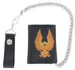 Leather Tri-Fold Chain Wallet With Eagle