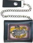 Live to Ride Leather Tri-Fold Chain Wallet