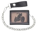 Leather Tri-Fold Chain Wallet With Motorcycle