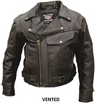Men's Motorcycle Leather Jacket with Air Vents