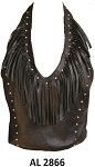 Ladies Studded Leather Halter Top with Fringe