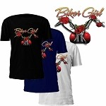 Biker Girl Roses Motorcycle T-Shirt