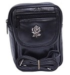 Womens Hip Bag Purse with Flower Emblem
