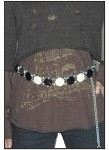 Womens Chain Belt, Black and White Gem Circles, Heart Pendant