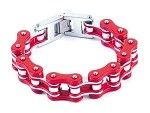 Red Stainless Steel Motorcycle Chain Bracelet