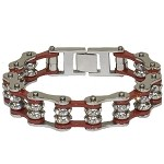 Red Motorcycle Chain Bracelet with Gemstones