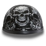 DOT Motorcycle Half Helmet With Skull & Guns