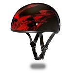 DOT Motorcycle Half Helmet With Skull Flames Red