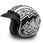 DOT 3/4 Open Face Graffiti Motorcycle Helmet