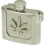 Metal Flask Buckle With Weed Leaf On It