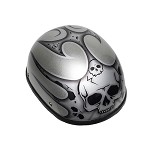 Silver Motorcycle Novelty Helmet With Burning Skull
