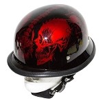 Burgundy Novelty Motorcycle Helmet Horned Skeletons
