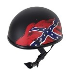 Rebel Flag Flat Black Novelty Motorcycle Helmet