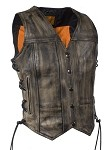 Womens Distressed Brown Leather Motorcycle Vest