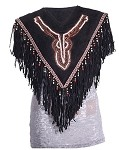 Womens Stylish Fringed Leather Poncho With Beads