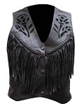 Womens Black Rose Fringe Leather Vest