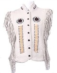Womens Fringed Leather Vest With Bones & Beads