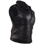 Womens Leather Vest with Classic Style Collar