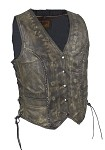 Womens Brown Studded Leather Vest with Gun Pockets