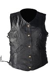Womens Leather Vest Gun Pockets & Clip Strap