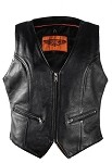 Womens Biker Leather Vest With Gun Pockets