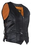 Womens Zip Up Leather Vest With Concealed Carry
