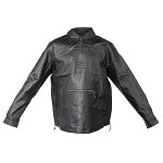 Mens Pullover Leather Shirt with Front Pockets